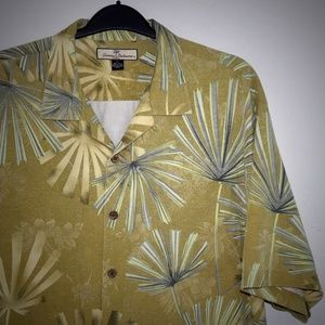 Tommy Bahama Mens Embossed Floral Shirt XL Silk
